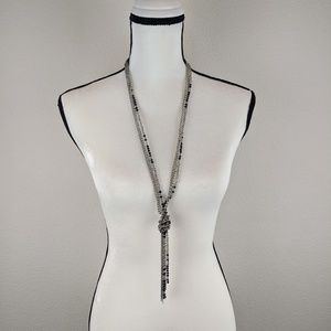 Silver & Black Beaded Long Necklace